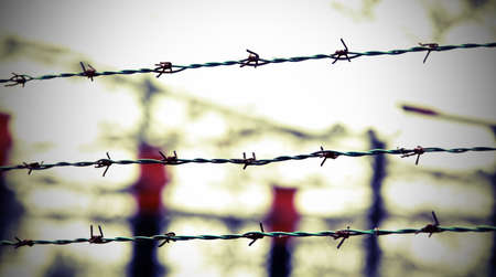 three lines of barbed wire and out of focus background Stok Fotoğraf