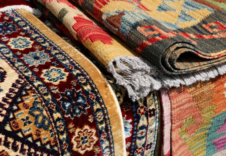 background of Persian type carpets and also kilim type with geometric figures Standard-Bild