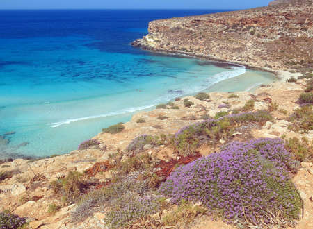 Blue Mediterranean Sea of the Lampedusa Island in South Italy