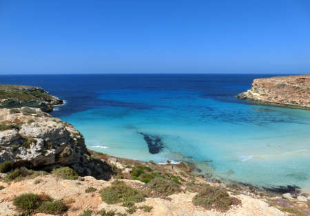 awesome view of Lampedusa Island in Southern Italy Archivio Fotografico