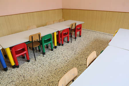 small chairs and long tables of a refectory of the nursery school without the children