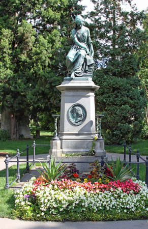 Vienna, Austria - August 24, 2014:  cenotaph of the musician wolfgang amadeus MOZART in the cemetery