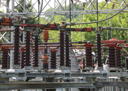 industrial breakers and high voltage switches in the power plant