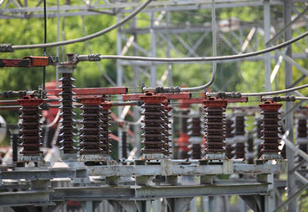 large high-voltage circuit breakers in the power plant that generates electricity from non-polluting renewable sources