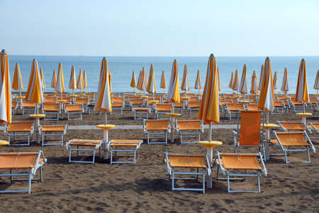 many yellow sun umbrellas and deckchairs  on the sandy beach of the resort in summer