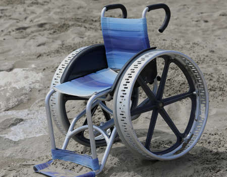 special wheelchair with big metal  wheels on the beach