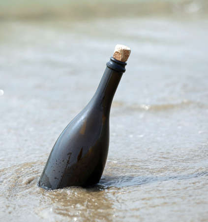 One bottle on the beach with a secret message