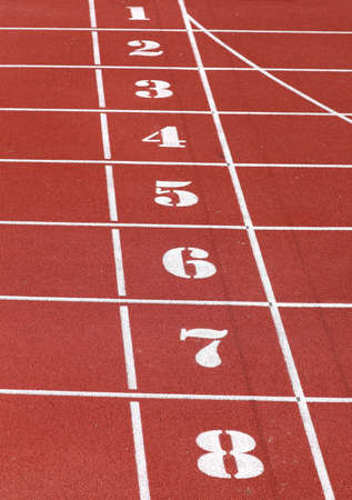 numbers from one to eight of the athletics track lane before the speed race arrives