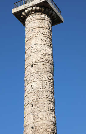 detail of the reliefs of the Column of Marcus Aurelius in Rome