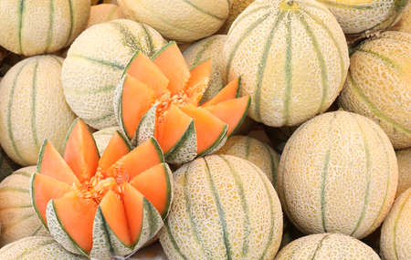 background of many netted melons for sale at market Фото со стока