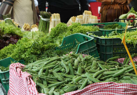 green peas and fresh lettuce and other vegetables for sale at market Фото со стока