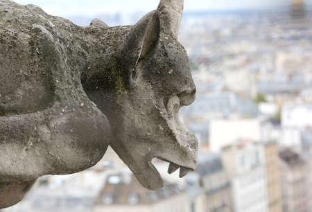 One big Gargoyle of Notre Dame the Paris in France