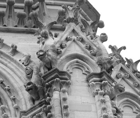 Detail of gargoyle of Basilica of Notre Dame in Paris France before the Fire in black and white effect Publikacyjne