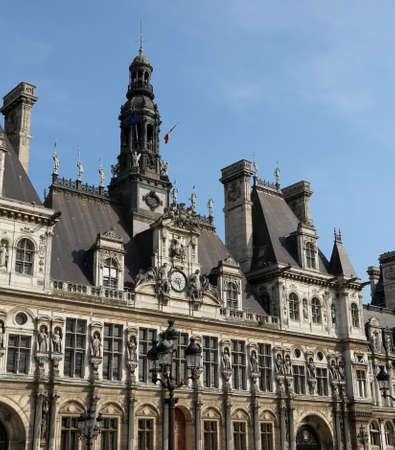 Town hall in Paris France called Hotel de Ville in French language