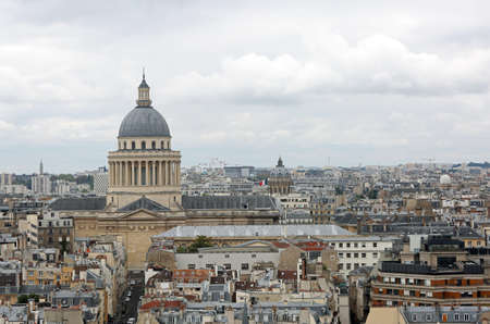 view of Paris in France and the big dome of Pantheon
