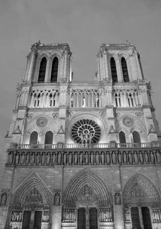 Basilica of Notre Dame Paris  in France with black and white effect before the fire