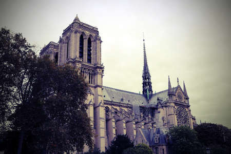 View of Basilica of Notre Dame the Paris before the Fire wint vintage toned effect