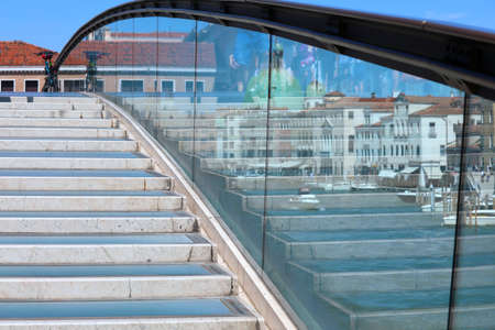 Detail of modern bridge  called Ponte della Costituzione that means Constitution Bridge in Venice in Italy Stock fotó