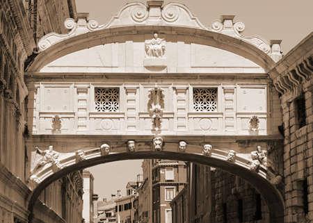 Famous Bridge in Venice called Ponte dei Sospri or Bridge of Sighs with special sepia toned