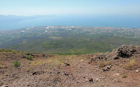 Volcano Vesuvius and the sea of Naples Bay in Italy in Summer 스톡 콘텐츠
