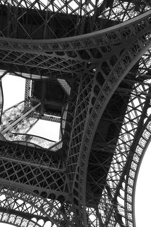 Eiffel Tower also called Tour Eiffel in french language in Paris seen from below
