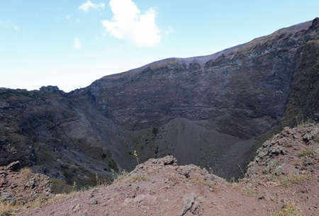 crater of Volcano Vesuvius also called Vesuvio in Italian language near Naples in South Italy