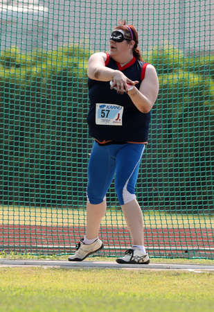 Jesolo, VE, Italy - July 6, 2019: Athlete ASSUNTA LEGNANTE at discus throw at Italian Paralympic Championship of Athletics