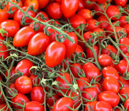 background of many red ripe cherry tomatoes at local market Фото со стока