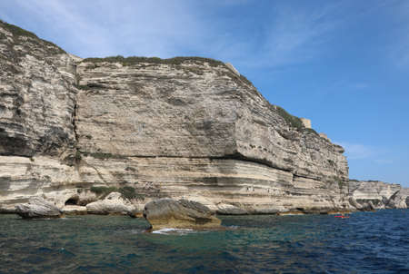 wide cliff and the mediterranean sea in Corsica Island in Europe