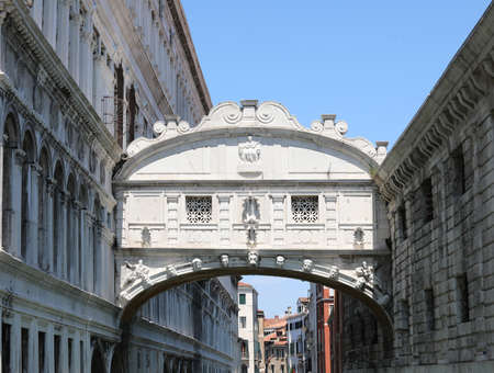 Famous monument called Bridge of Sighs also called Ponte dei Sospiri in italian language in Venice Italy