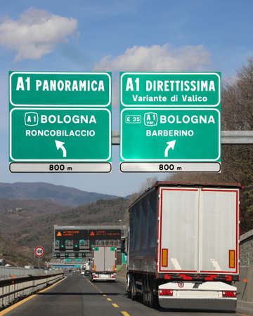 Crossroad on italian highway to go on bologna City in Italy
