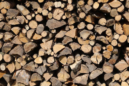 background of many wooden logs in the woodshed