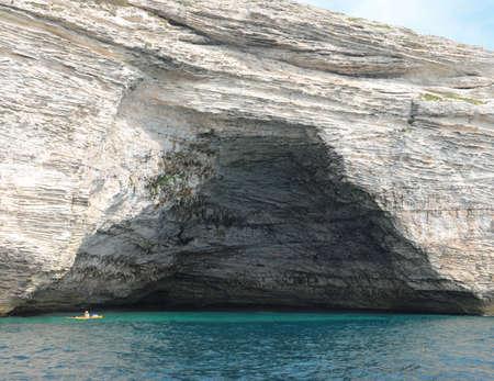 Wide cave with entry similar at Napoleon Bonaparte hat near Bonifacio Town in Corsica Island in Mediterranean Sea
