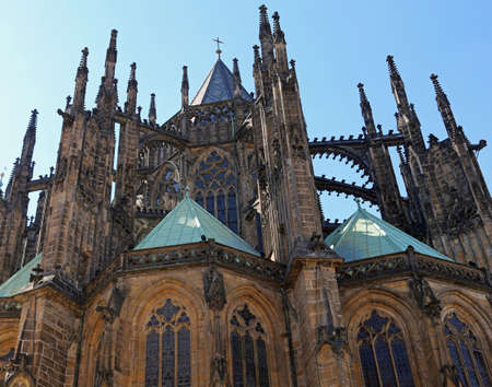 Many flying buttress and spires of Saint Vitus Cathedral in Prague in Czech Republic in Europe