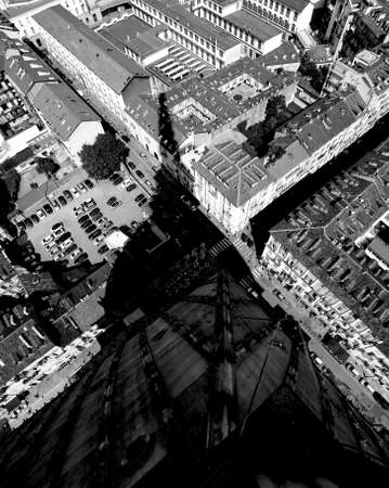 Turin, TO, Italy - August 27, 2015: Aerial view from the monument called Mole Antonelliana and the shadow of the dome with black and white effect