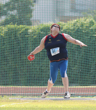 Jesolo, VE, Italy - July 6, 2019: Assunta Legnante is an exceptional athlete during the disc launch at the Paralympic sporting event