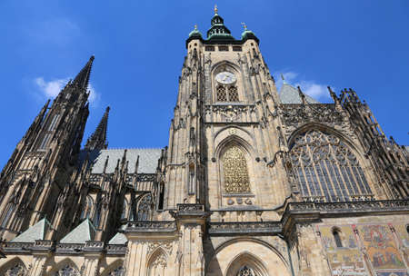 Saint Vitus Cathedral in Prague in Czech Republic in Central Europe and blue sky