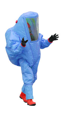 man with blue protective suit on white background Stock Photo