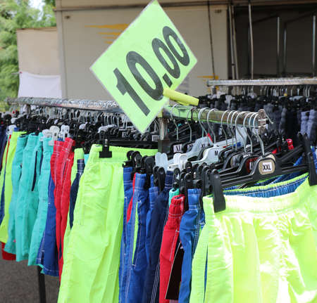 stand at market with many shorts for sale and the tag price Stockfoto