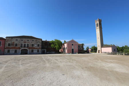 Wide town square of Lio Piccoli a small village in Northern Italy near Venice Island