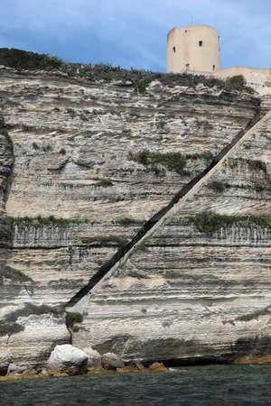 Incredible stairway on the rock in Bonifacio Town in Corsica