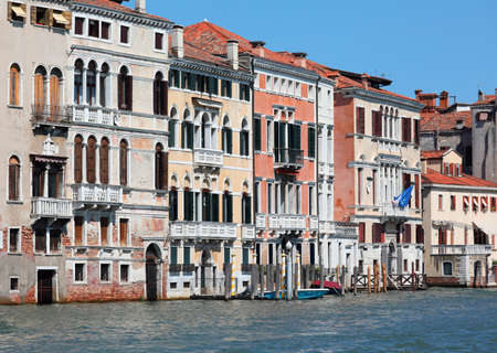 View of Palaces and Houses in Venice Italy and the major waterway called Grand Canal Imagens