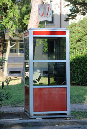 very old italian phone box now not in use