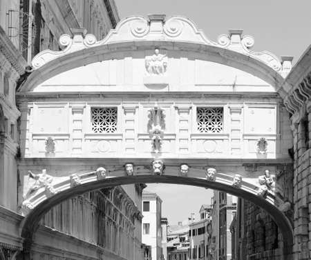famous bridge of sighs in Venice in Italy with black and white effect