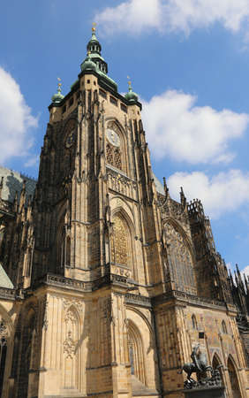 Saint Vitus Bell Tower and  Cathedral in Prague in Czech Republic in Central Europe Stock fotó