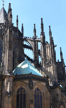 flying buttress and spires of Saint Vitus Cathedral in Prague in Czech Republic in Central Europe