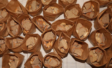 many small bags with whole bread at bakery