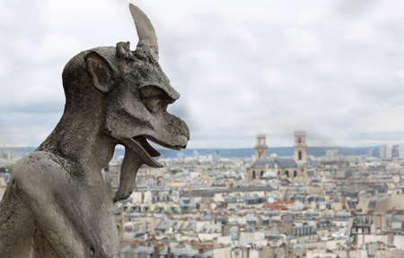 statue of a monster in the Basilica of Notre Dame de Paris in France
