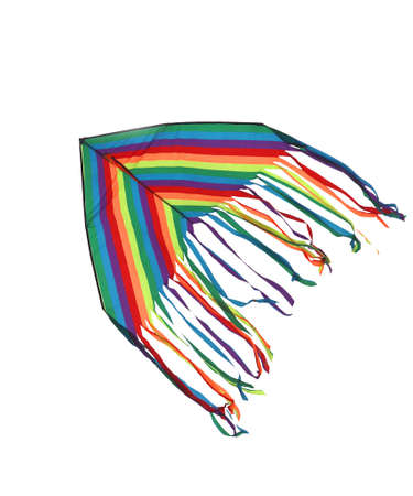 multicolor kite on white background symbolism for parents who must let their children go free