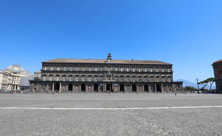 Naples, NA, Italy - August 20, 2019: Royal Palace and the wide Plebiscite square called Piazza Plebiscito in Italian Langauge